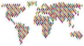 Det färgrika folket värld kartlägger stock illustrationer