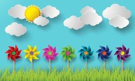 Illustrationen av vind maler att blåsa i de molniga dagarna Royaltyfria Foton