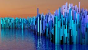illustrationen 3D av abstrakt begrepp framför strukturen gjord av miljonerkolonner Royaltyfri Bild