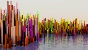 illustrationen 3D av abstrakt begrepp framför strukturen gjord av miljonerkolonner Arkivfoton