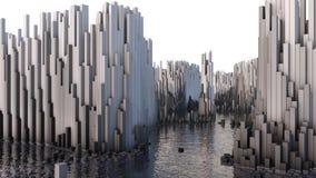 illustrationen 3D av abstrakt begrepp framför strukturen gjord av miljonerkolonner Royaltyfri Foto