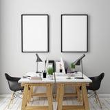 illustrationen 3D av affischen inramar upp mallen, workspaceåtlöje, Royaltyfria Bilder
