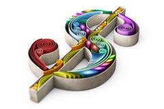 illustrationen 3d av det Swirly dollartecknet islolated på vit royaltyfri illustrationer