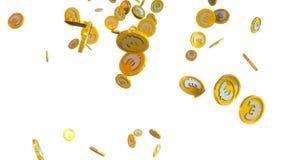 illustrationen 3D av euroet myntar att falla på en vit bakgrund stock illustrationer