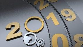 illustrationen 3D av kugghjul för ett datum 2019, guld- och järnroterar, mekanismen av tidmaskinen, kugghjulreduceren roteras 3d royaltyfri illustrationer