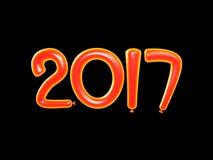 illustrationen 3D av 2017 lyckliga nya år sväller Bakgrund för lyckligt nytt år med orange nummerballons på Black Royaltyfri Fotografi