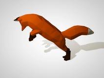 illustrationen 3D av origami lurar på hans bakre ben Polygonal rävbanhoppning Röd räv för geometrisk stil, sidosikt Jaga räven Arkivbilder