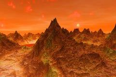 illustrationen 3D av yttersidan av planeten fördärvar stock illustrationer