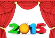 Illustrationen 3d des guten Rutsch ins Neue Jahr-2015 Stockfotografie