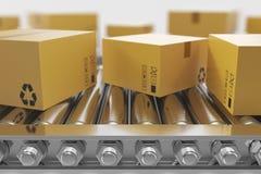 illustrationen 3D förpackar leveransen, förpackande service och slår in på trans.systembegreppet, kartonger Royaltyfri Bild