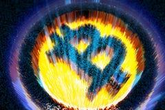 illustrationen 3d pixelated bitcoinsymbolet som gjordes från kuber i glödande panelljus Arkivbild