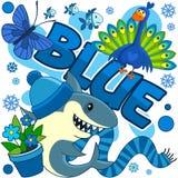 Illustrationen der blauen Farbe lizenzfreie abbildung