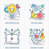 Illustrationen der kommerziellen Daten u. der Ikonen und der Konzepte lizenzfreie abbildung