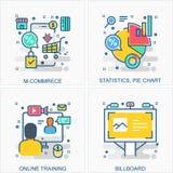 Illustrationen der kommerziellen Daten u. der Ikonen und der Konzepte stock abbildung