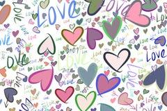 Illustrationen der Liebe für Valentinstag, Feiern oder Jahrestag Bunt, Partei, Hintergrund u. Hintergrund vektor abbildung