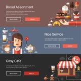 Illustrationen der modernen flachen Designkaffeestube Lizenzfreies Stockfoto