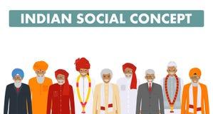 illustrationen för begreppet 3d framförde samkväm Indiskt högt folk för grupp som tillsammans står i olik traditionell medborgare Arkivbilder