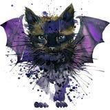 Illustrationen för den svarta katten med färgstänkvattenfärgen texturerade bakgrund Arkivfoton