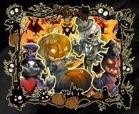 Illustrationen för den tecknad filmhalloween ramen dekorerade med olika onda bisarra varelser royaltyfri illustrationer