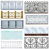 Illustrationen in för designen för arkitektur för garnering för staketet för stål för metall för tappning för balkongräckevektorn stock illustrationer