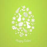 Illustrationen för designinbjudan- och hälsningkort med ` och ägget för påsk för titel` lycklig formar Royaltyfri Fotografi