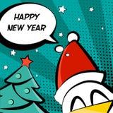 Illustrationen för det lyckliga nya året med hanen i en jultomtenhatt, trädet och text fördunklar Arkivbild