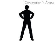 Illustrationen för EPS 10 av mannen i ilsken konversation poserar på vit bakgrund stock illustrationer