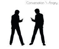 Illustrationen för EPS 10 av mannen i ilsken konversation poserar på vit bakgrund vektor illustrationer