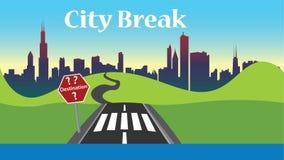 Illustrationen för fotoet för stadsavbrottet, lägenhetdesign - välj ditt destinationsvägmärke, affischen, rengöringsdukbruk stock illustrationer