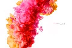 illustrationen för fractals för explosionen för abstrakt bakgrundsfärg texturerade den digitala Färgrikt akrylfärgpulver i vatten Arkivfoto