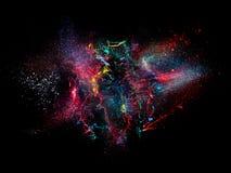 illustrationen för fractals för explosionen för abstrakt bakgrundsfärg texturerade den digitala Royaltyfria Bilder