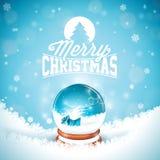 Illustrationen för glad jul med typografi och det magiska snöjordklotet på vinter landskap bakgrund Vektorjul royaltyfri illustrationer