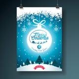 Illustrationen för glad jul med typografi- och prydnadgarnering på vinter landskap bakgrund Vektorjul stock illustrationer