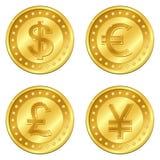 illustrationen för guld för eps för 4 10 myntvalutor i lager majoren placerade reflexioner avskilda genomskinliga vektorn för sku Royaltyfria Foton