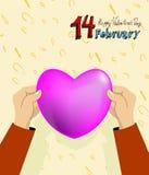 illustrationen för kortdagen här satte den din vektorn för s-textvalentinen Februari 14th Royaltyfri Bild