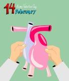 illustrationen för kortdagen här satte den din vektorn för s-textvalentinen Februari 14th vektor illustrationer