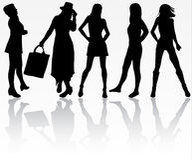 illustrationen för mode för bakgrundsaffärskortet silhouettes stilvektorkvinnor Royaltyfri Bild