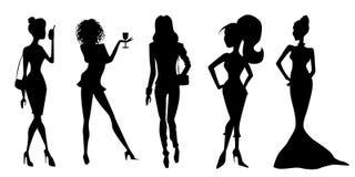 illustrationen för mode för bakgrundsaffärskortet silhouettes stilvektorkvinnor Royaltyfria Bilder