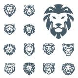 Illustrationen för rovdjurs- makt för styrka för emblemet för den tiger- och för lejonvektorhuvudet framsidakonturn driver den sv royaltyfri illustrationer