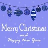 Illustrationen för ` s för det nya året med en girland av jul klumpa ihop sig vektor illustrationer