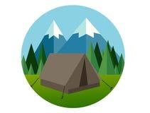 Illustrationen för symbolen för lägenheten för lägerskogberget sörjer den grafiska träddjungelvektorn Royaltyfri Foto