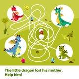 Illustrationen för tecknade filmen för labyrintlabyrintbarn hjälper den modiga av drakar att finna vägen till barnägget på tilltr Vektor Illustrationer