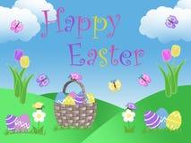 Illustrationen för trädgården för bakgrund för jakten för korgen för påskägget med molntulpan blommar kullar blå himmel och fjäri Arkivfoto