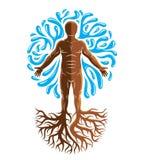 Illustrationen för vektordiagrammet av den muskulösa människan, individ skapar vektor illustrationer