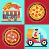 Illustrationen för vektorn för för den Ast leveransmannen och pizza shoppar den färgrika i plan stilpizza illustrationen för pizz Arkivfoton