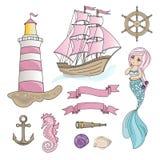 Illustrationen för vektorn för färg för loppet för SEGELBÅTSJÖJUNGFRUhavet ställde in för trycket, födelsedag stock illustrationer