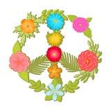 Illustrationen för vektorn för sida- och blommafredtecknet, färgrika bohoblommor skrivar ut Arkivfoton