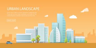 Illustrationen för vektorn för rengöringsdukbanret shoppar den moderna av det stads- landskapet med byggnader, och diversehandel, Arkivfoton