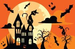 Illustrationen für Halloween, das große Haus hat die Schläger, die herum fliegen stockbild
