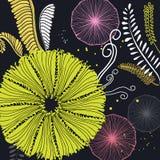 Illustrationen med blommor, gömma i handflatan filialen, sidor Blom- textur för idérik kontrast Utmärkt för tyg, textilvektorkons royaltyfri illustrationer
